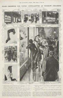 newspaper cutting - Glass-Smashing for Votes! Suffragettes as Window-Breakers