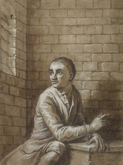 drawing; pen, ink and wash with white highlights - Jack Sheppard: Jack Sheppard Seated in His Cell, Newgate